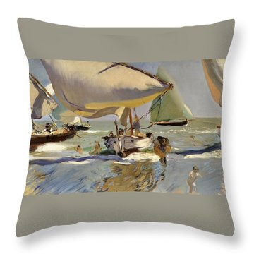 Boats On The Shore Throw Pillow