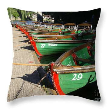 Throw Pillow featuring the photograph Boats Waiting For Kids by Doc Braham