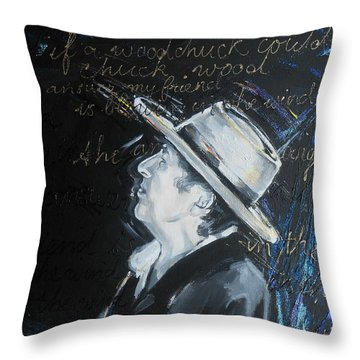 Bob Dylan - Blowing In The Wind Throw Pillow by Lucia Hoogervorst