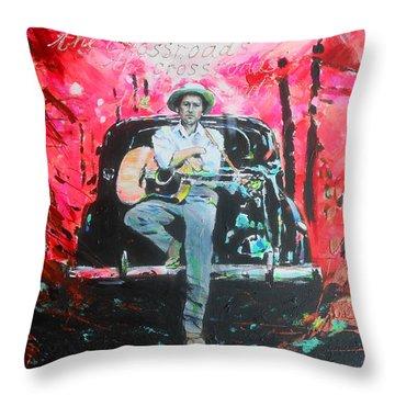 Bob Dylan - Crossroads Throw Pillow by Lucia Hoogervorst