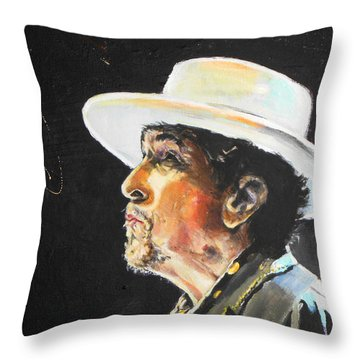 Bob Dylan Throw Pillow by Lucia Hoogervorst