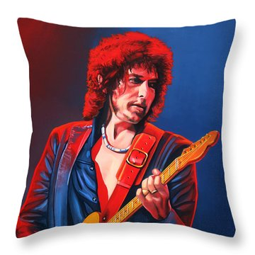 Bob Dylan Painting Throw Pillow
