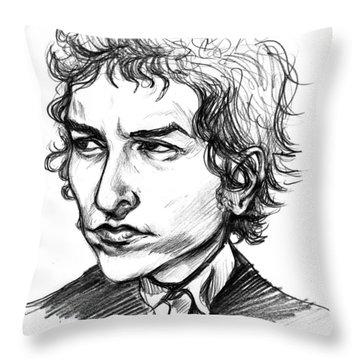 Bob Dylan Sketch Portrait Throw Pillow