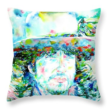Bob Dylan - Watercolor Portrait.2 Throw Pillow by Fabrizio Cassetta