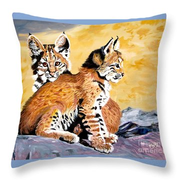 Bob Kittens Throw Pillow