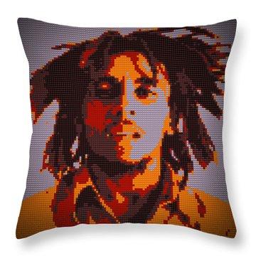 Bob Marley Lego Pop Art Digital Painting Throw Pillow by Georgeta Blanaru