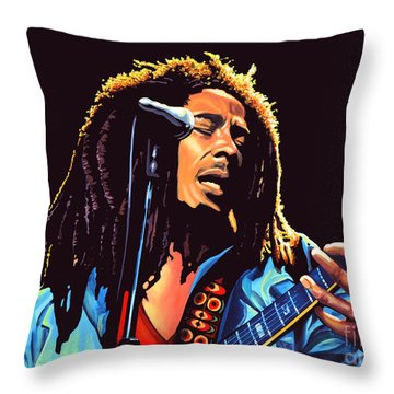 Bob Marley Throw Pillow by Paul Meijering