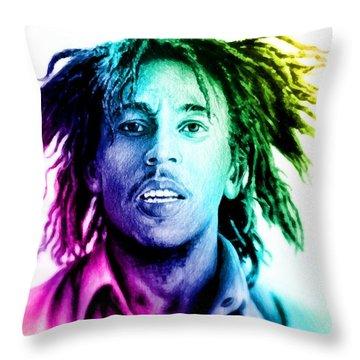 Bob Marley  Rainbow Effect Throw Pillow