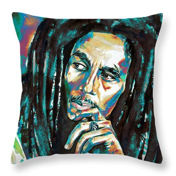 Bob Marley Watercolor Portrait.7 Throw Pillow