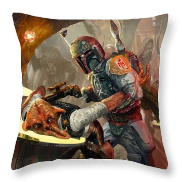 Boba Fett - Star Wars The Card Game Throw Pillow