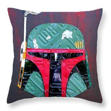 Boba Fett Star Wars Bounty Hunter Helmet Recycled License Plate Art Throw Pillow