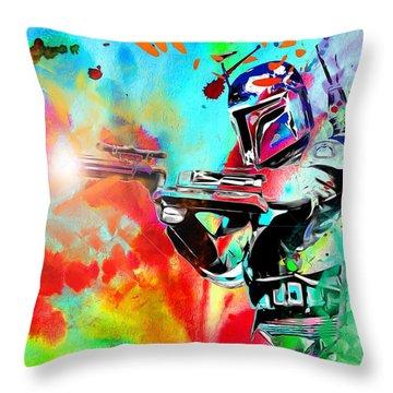 Boba Fett Star Wars Throw Pillow by Daniel Janda