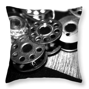 Bobbins 2 Bw Throw Pillow