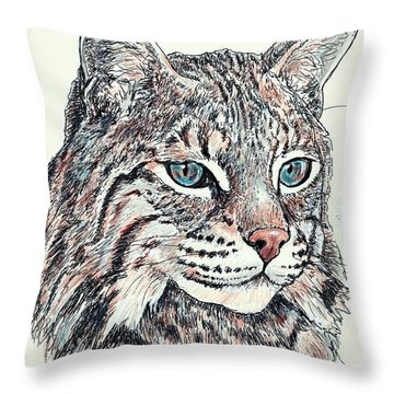 Throw Pillow featuring the drawing Bobcat Portrait by VLee Watson