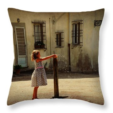 Boboli Bubbler Throw Pillow by Valerie Reeves