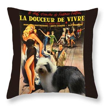 Bobtail -  Old English Sheepdog Art Canvas Print - La Dolce Vita Movie Poster Throw Pillow