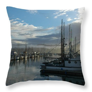 Throw Pillow featuring the drawing Bodega Fishing Boats by Dianne Levy