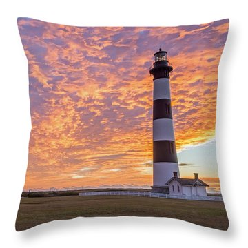 Bodie Island Lighthouse At Sunrise Throw Pillow