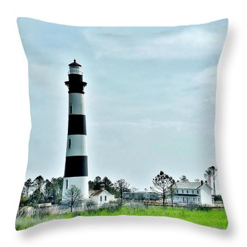 Bodie Island Lighthouse - Outer Banks North Carolina Throw Pillow by Kim Bemis