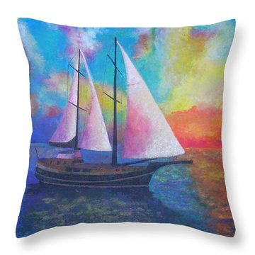 Throw Pillow featuring the painting Bodrum Gulet Cruise by Tracey Harrington-Simpson