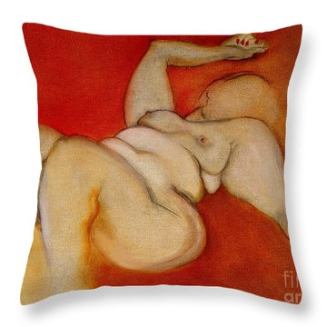 Throw Pillow featuring the painting Body Of A Woman by Carolyn Weltman