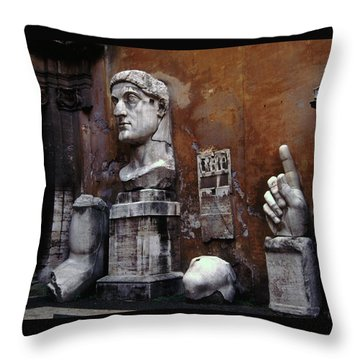 Throw Pillow featuring the photograph Body Parts The Colossus Of Constantine Rome by Tom Wurl
