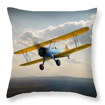 Boeing Stearman Trainer In Flight  Throw Pillow by Gary Eason