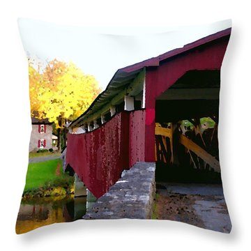 Bogerts Covered Bridge Allentown Pa Throw Pillow