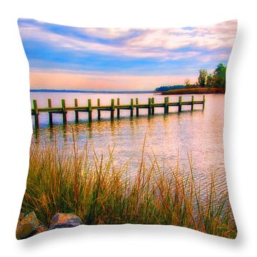 Bogles Wharf Landing Throw Pillow