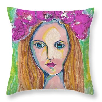 Bohemian Flower Crown Girl Throw Pillow