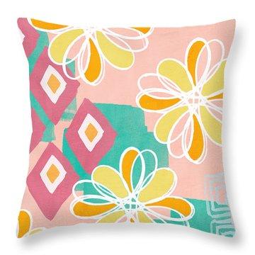 Boho Floral Garden Throw Pillow