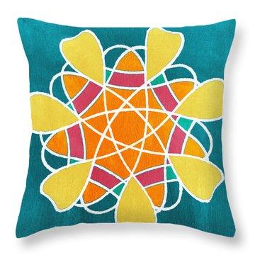 Boho Floral Mandala Throw Pillow