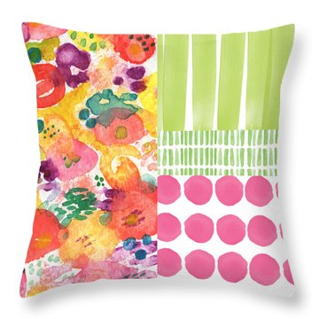 Boho Garden Patchwork- Floral Painting Throw Pillow