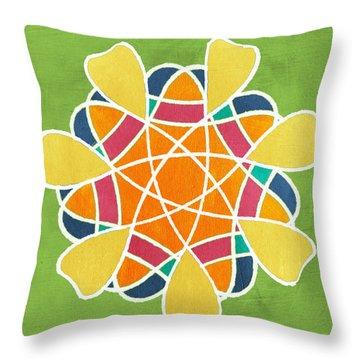 Boho Mandala On Green Throw Pillow
