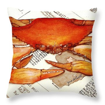 Boiled Crab Throw Pillow by June Holwell