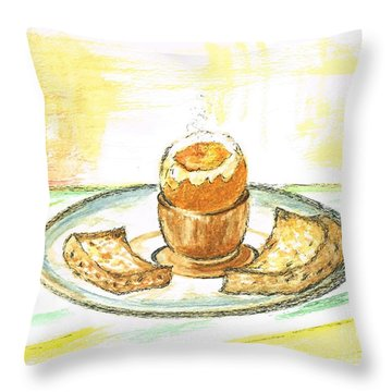 Boiled Egg And Toast For Breakfast Throw Pillow