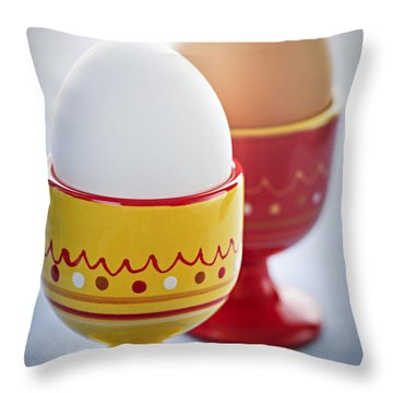 Boiled Eggs In Cups Throw Pillow by Elena Elisseeva