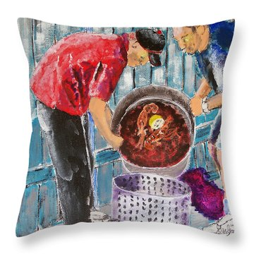 Boiling Mud Bugs Throw Pillow