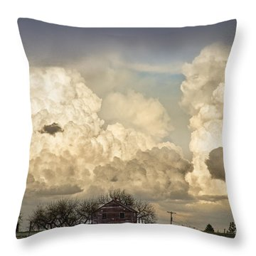 Boiling Thunderstorm Clouds And The Little House On The Prairie Throw Pillow by James BO  Insogna