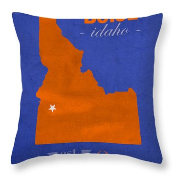 Boise State University Broncos Boise Idaho College Town State Map Poster Series No 019 Throw Pillow by Design Turnpike