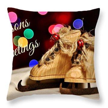 Bokeh Skates Card Throw Pillow