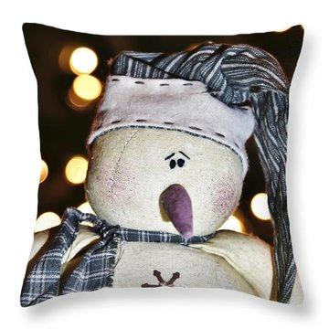 Bokeh Snowman Throw Pillow