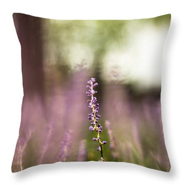 Bokeh With Purple Wildflower Throw Pillow