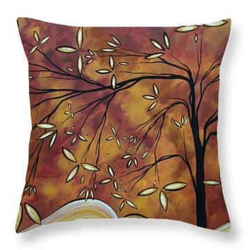 Bold Neutral Tones Abstract Landscape Art Oversized Original Painting The Wishing Tree By Madart Throw Pillow by Megan Duncanson