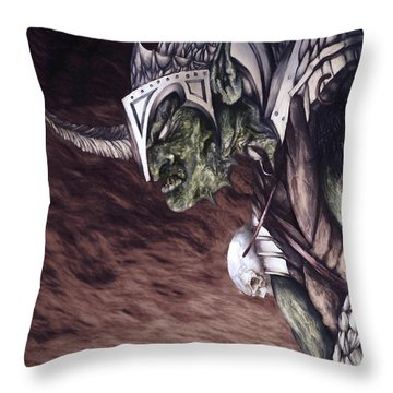 Throw Pillow featuring the mixed media Bolg The Goblin King 2 by Curtiss Shaffer