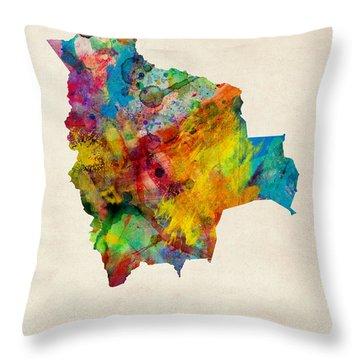 Bolivia Watercolor Map Throw Pillow