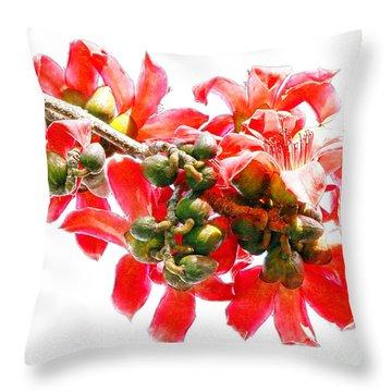 Bombax Tree Flowers Throw Pillow