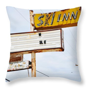 Bombay Beach Abandoned Ski Inn Throw Pillow