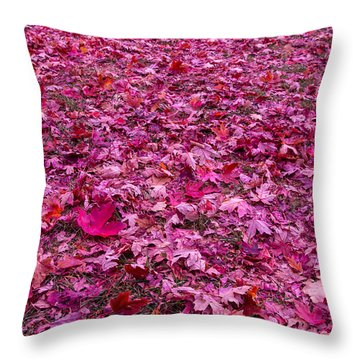 Pink Leaves Throw Pillow by Abdullah Alnassrallah