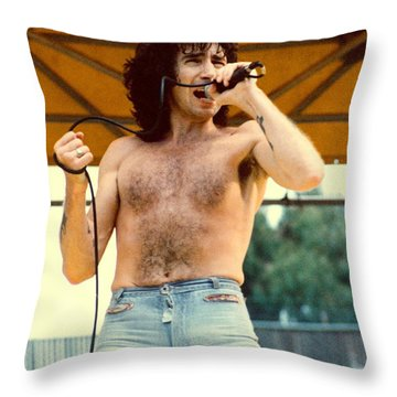 Bon Scott Of Ac Dc At Day On The Green - July 1979 Throw Pillow